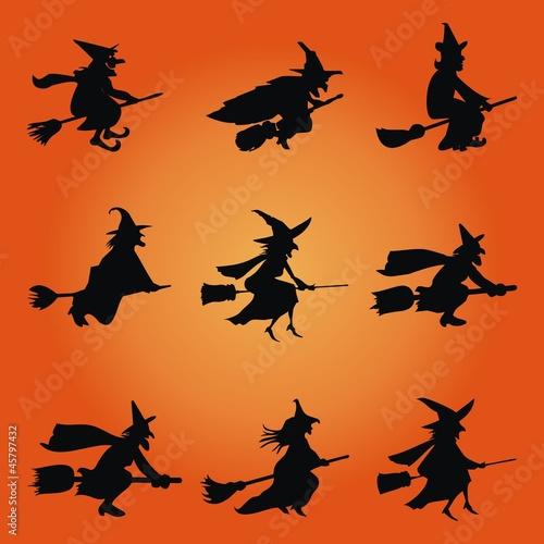 Halloween Hexen Besen Fliegen Megaset Stockfotos Und