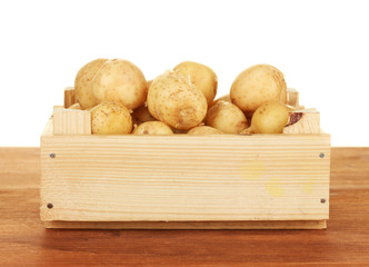 young potatoes in a wooden box