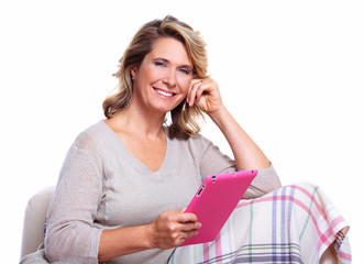 Happy senior woman with tablet computer.