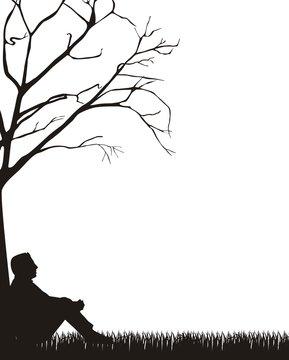 man sitting silhouette