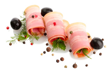 tasty bacon with olives and spices, isolated on white