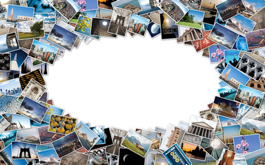 Oval stack of travel images from the world with copy space