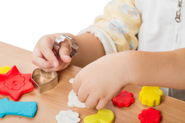 Children work with modeling clay