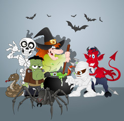 Foto auf Leinwand Kreaturen Halloween Monsters Party Celebration