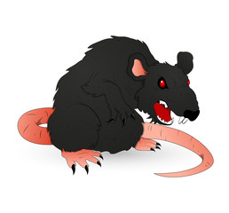 Halloween Creepy Rat Vector Illustration