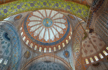 Decorated dome of the Blue Mosque in Istanbul, Turkey