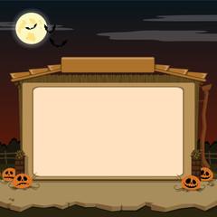 Rural barn. Sample text. Halloween theme