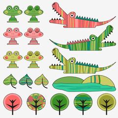 Frog and crocodile cute childish set
