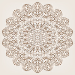 Round brown lace pattern on a beige background