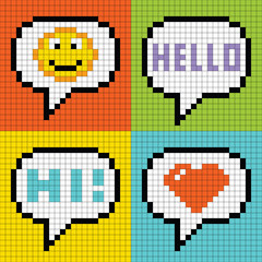 Zelfklevend Fotobehang Pixel Pixel Social Networking Speech Bubbles: Smiley, Hello, Hi, Love