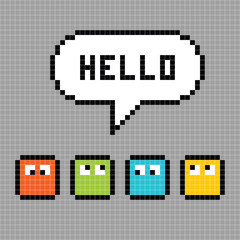 Pixel Characters Say Hello