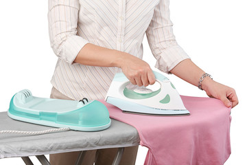 A woman ironing her cloth isolated