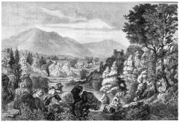 Ardeche river limestone rock formations, Ardeche region, France,