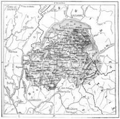Map of Department of Haute-Savoie vintage engraving