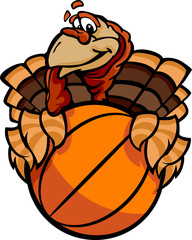 Basketball Happy Thanksgiving Holiday Turkey Cartoon Vector Illu