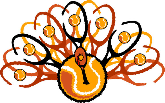 Tennis Thanksgiving Holiday Turkey Graphic Vector Illustration