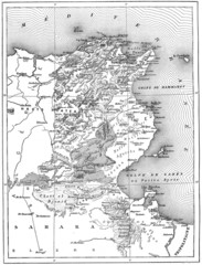 Map of Tunisia, vintage engraving