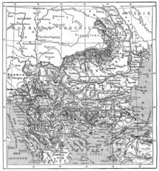 Map of Turkey, Bulgaria, Serbia, Romania and Montenegro, vintage