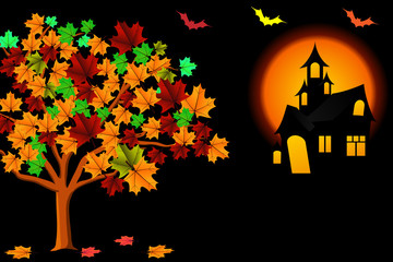 Halloween terrible background with castle.