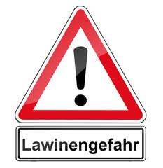 Warnschild RAL 3001 Signalrot freigestellt - Lawinengefahr