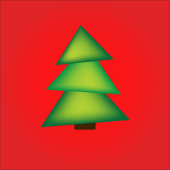 Christmas card, a green tree on a bright red background