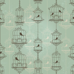 Deurstickers Vogels in kooien Vintage birds and birdcages. Pattern. Wallpaper.