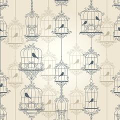 Printed roller blinds Birds in cages Vintage birds and birdcages. Vector illustration.