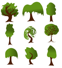 Set of green tree silhouettes for ecology design. Vector version