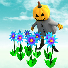pumpkin witch in mystic flower garden illustration
