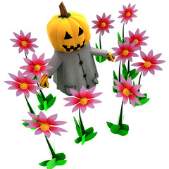isolated pumpkin witch in magic flower garden illustration