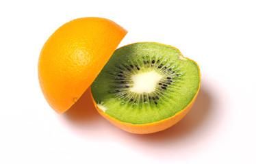 Orange with kiwi inside isolated on white.