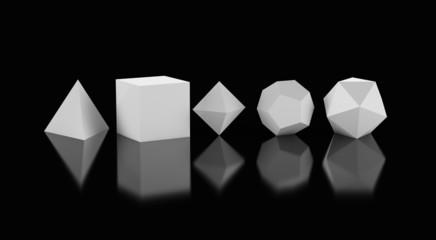 3D Platonische Körper der heiligen Geometrie - Weiß auf Schwarz