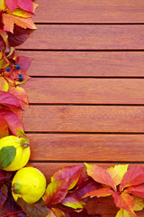Autumn Leaves over wooden backgound