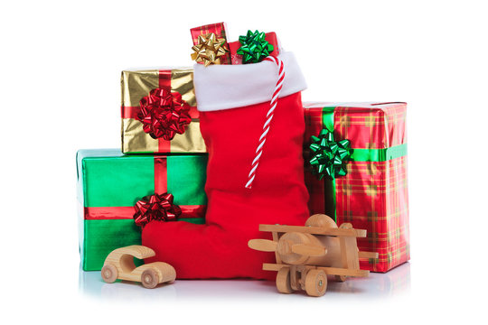 Christmas stocking with gifts wrapped presents and toys