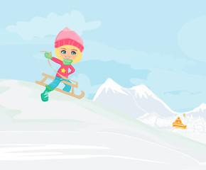 Little girl sledding - vector illustration