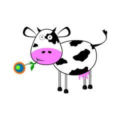 cow with a flower vector illustration
