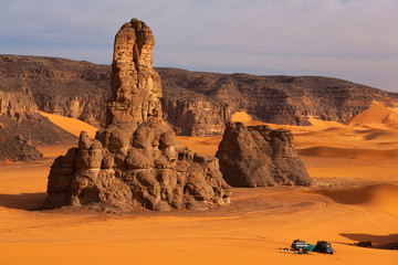Photo on textile frame Algeria Car in the Sahara desert