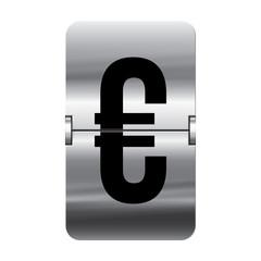 Silver flipboard letter - departure board - euro