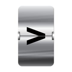 Silver flipboard letter - departure board - greater than