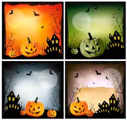 Four Halloween backgrounds. Vector