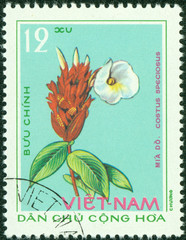 stamp printed in VIETNAM shows image of flower