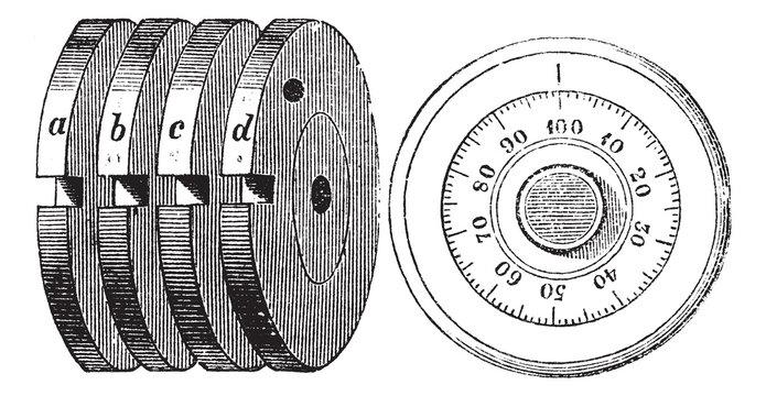 Rotary combination lock Safe locking mechanism vintage engraving