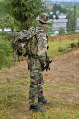 Soldier next to the village