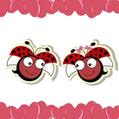 Two ladybugs in love with hearts