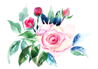 Decorative Roses flowers, Watercolor painting