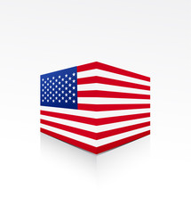 United States of America flag on box