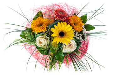 colorful floral bouquet of roses and sunflowers isolated on whit