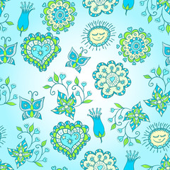 cheerful blue and green  pattern