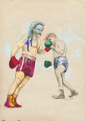 boxing duel (this is original sketch - digital tablet technique)