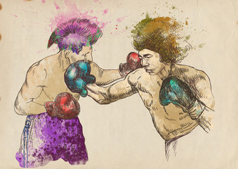 boxing duel (this is original sketch - digital tablet technique)